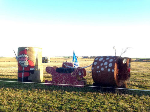 The hay bales spruce up the field at East Skichen Farm in Arbroath, Angus.