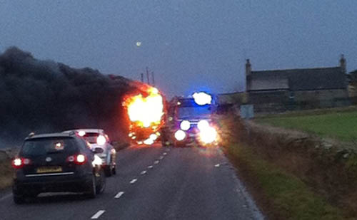 The coach was ablaze within minutes of children getting off