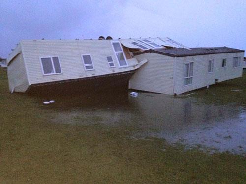 Hurricane-force winds overturned a static caravan