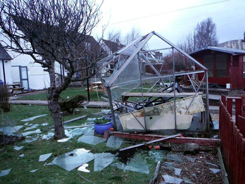 This greenhouse was completely destroyed