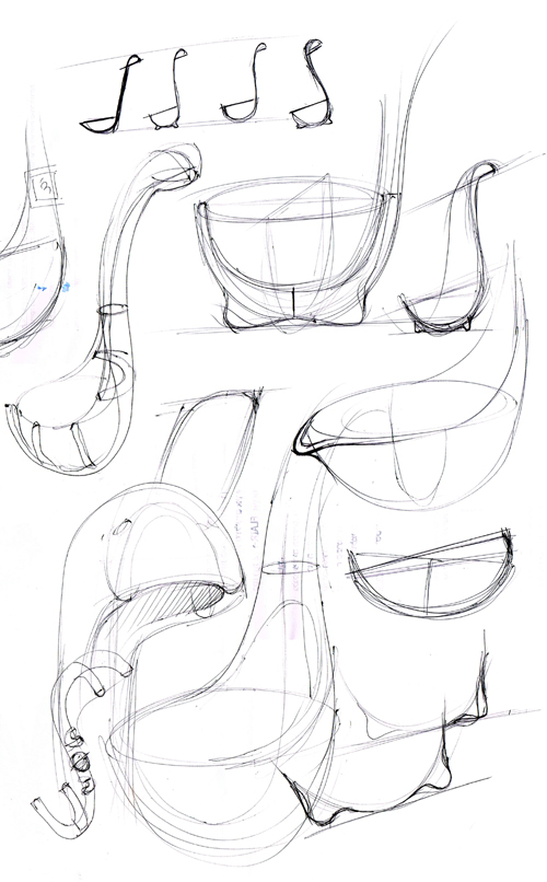 Early sketches of the Nessie  ladle