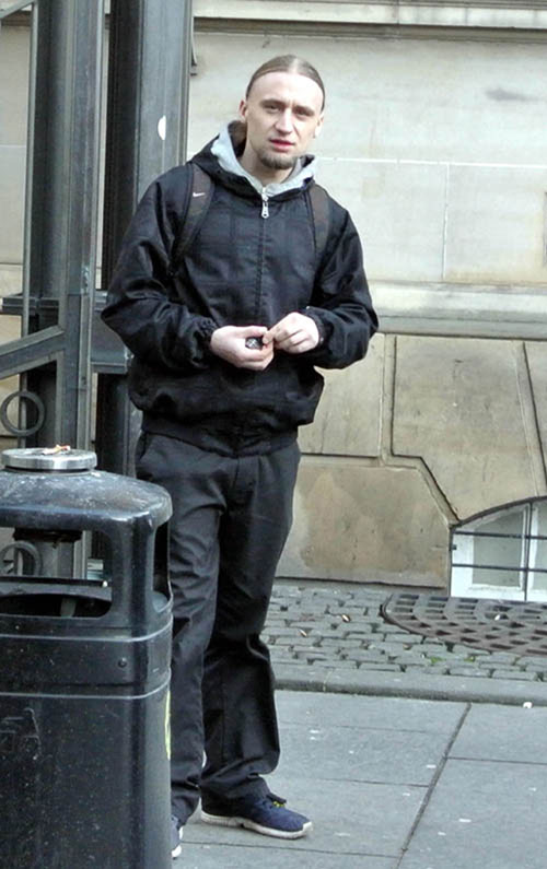 Lukasz Woloszyn outside Edinburgh Sheriff Court after pleading guilty to drug and weapon charges