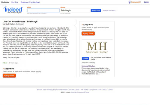 The advert  for the post of housekeeper in Edinburgh