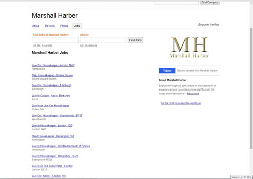 Other specialist housekeeping and butler jobs available from Marshall Harber