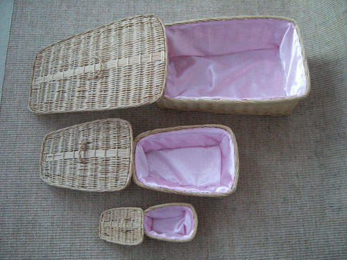 The wicker coffins available for the animals