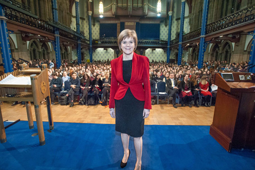 Nicola Sturgeon speaks at Glasgow University
