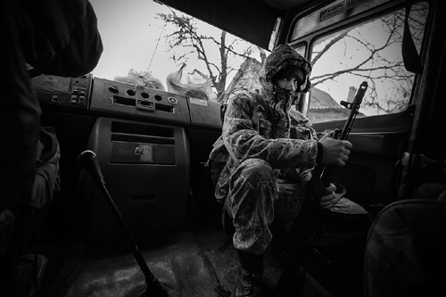 A rebel fighter photographed during the Ukraine conflict