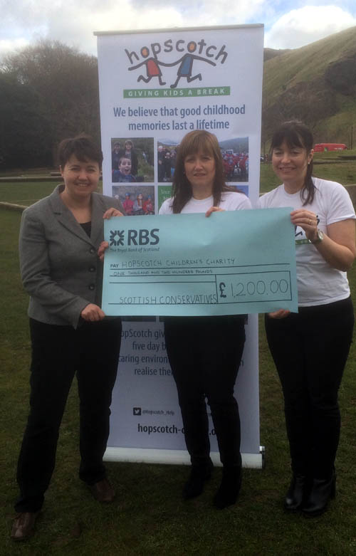 Ruth Davidson handed  over the cheque to Hopscotch