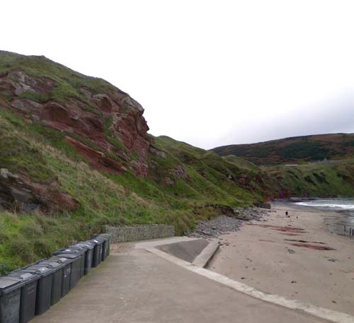 Garden Town beach, from above which the rock Salmond stares out over the North Sea