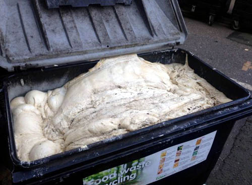 Disgusting sights, such as this mass of pizza dough left to fester in a trade bin, should become a thing of the past