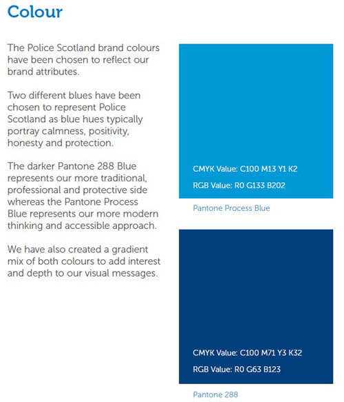 Officers are encouraged the think about the precise shade of blue they should use