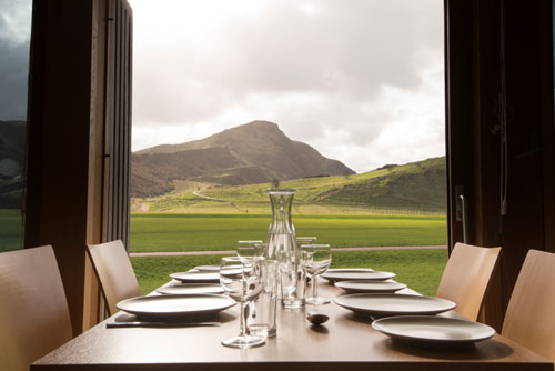 The pop-up restaurant is set against the iconic Arthur's Seat backdrop