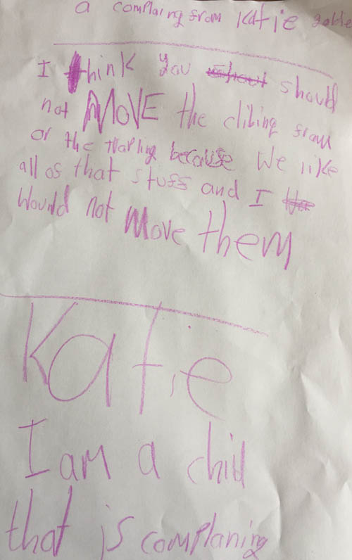 The feisty youngster penned this letter and personally handed it to the official who had written to her parents