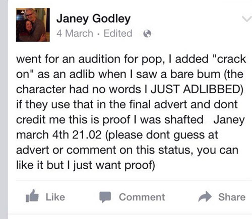 Janey made a note on social media when she suspected the company might use her line