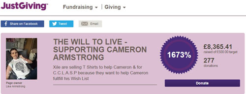 The Just Giving page has already raised over £8,000