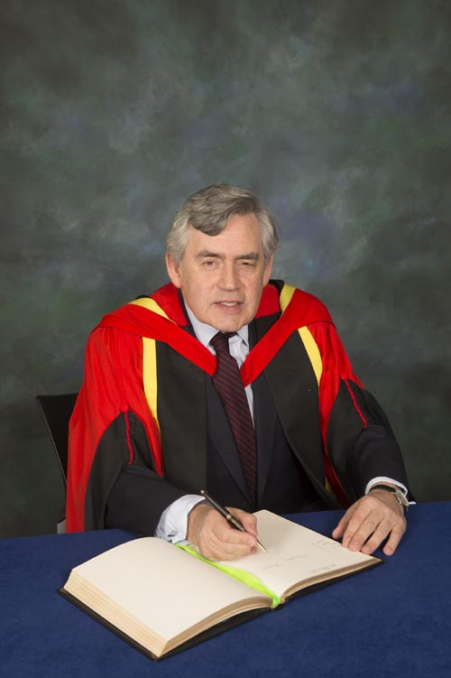 Gordon Brown was awarded the degree in a ceremony on Wednesday