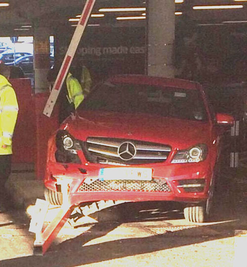 The barrier was demolished by the Mercedes Benz