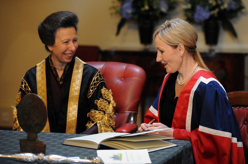 Rowling meets another princess, the Princess Royal, at a ceremony in Edinburgh