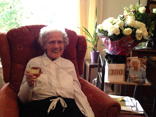 Enjoying a drink at 100 years old