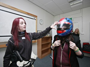 GOOD EGG YOUNG DRIVER SAFETY CAMPAIGN WITH SCOTTISH SUN RACER CHRISTIE DORAN AT KILSYTH ACADEMY, GLASGOW. PIC SHOW CHRISTIE DORAN TALKING TO THE YOUNG DRIVERS ABOUT HER RACING EXPERIENCES.