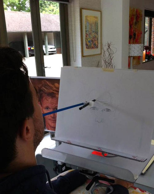 Henry creates the drawings using just his mouth