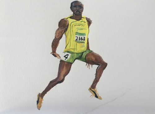 The world's fastest man was also the subject of a painting