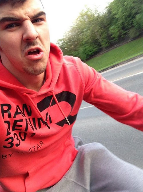 Paterson is known for taking chances - here he is taking a selfie whilst out on a bike ride