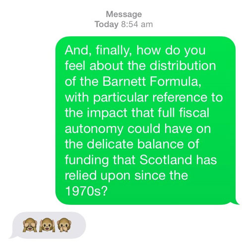 Dugdale answered all the questions using Emoji symbols