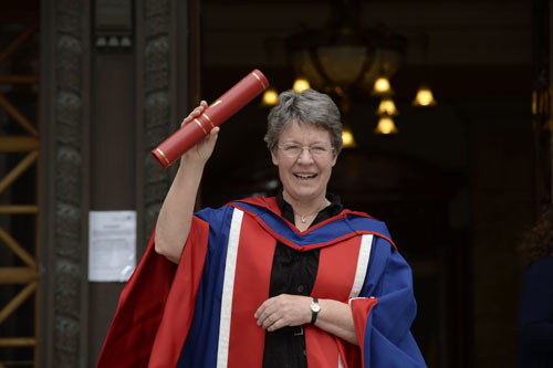 Dame Jocelyn celebrates being awarded her honorary degree