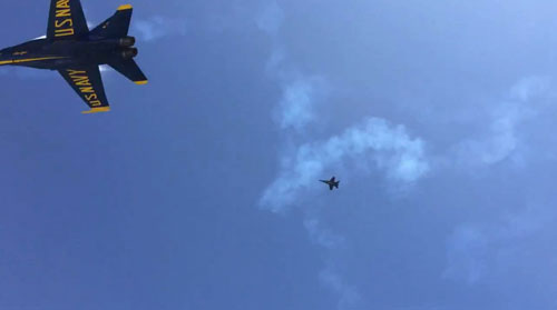 The jet flew over at a height of roughly 200 feet