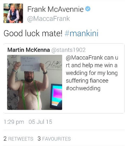 His post was shared by ex-Celtic player Frank McAvennie