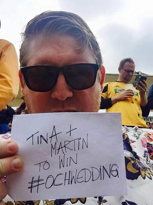 A cricket fan sent his support from the Ashes