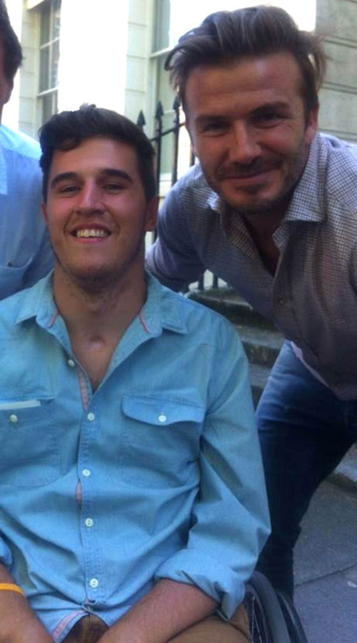Henry was left wheelchair-bound after his accident (pictured with David Beckham)