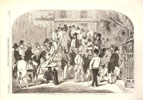 Depiction of a slave sale in South America