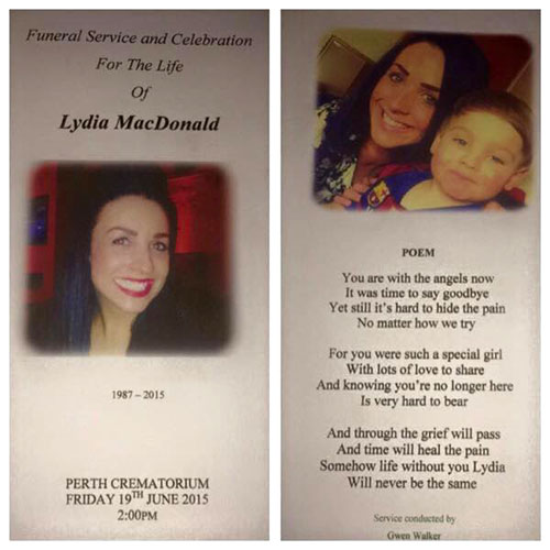 Lydia MacDonald died of an asthma attack last month