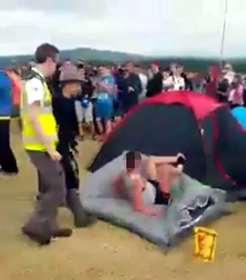 At one point he flattened a tent