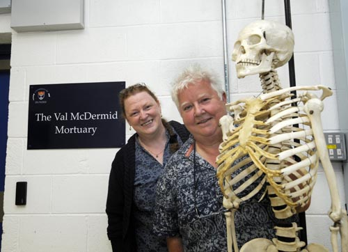 David Martin,Fotopress,Dundee  Dundee University Morgue Named. Author Val McDermid[white hair] and Professor Sue Black at the official naming.