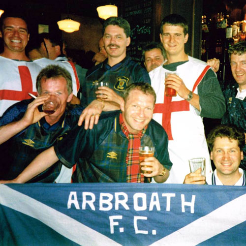The flag at the 1996 game against England at Wembley