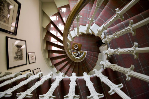 The spiral staircase is another feature