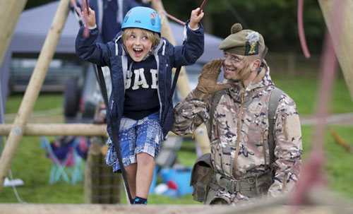 Children can have a go on the giant assault course