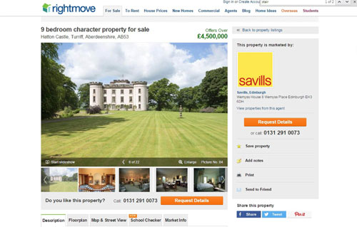 The castle is on the market for £4.5m