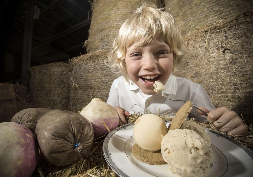 PIC3- Zak Reid, 7, tries out haggis ice cream