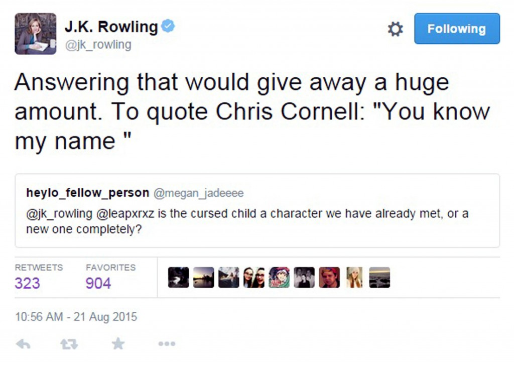 The tweet that Rowling posted today.