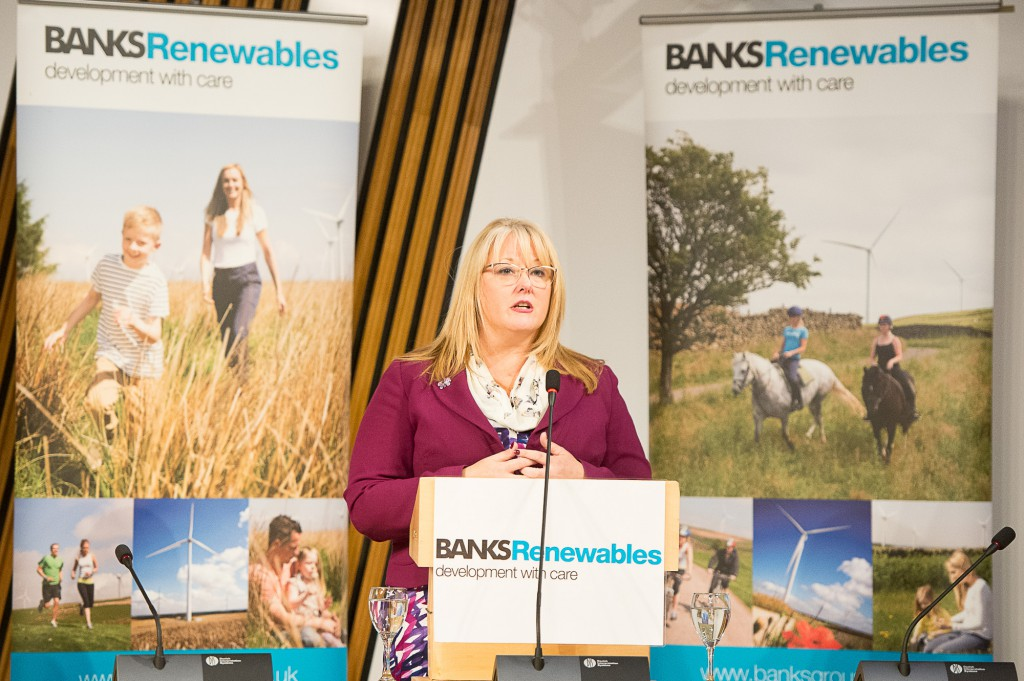Connect2Renewables. Onshore wind farm event in Scottish Parliament. IN PIC................. Event sponsor, Christina McKelvie, SNP, MSP for Hamilton, Larkhall and Stonehouse hosting the event in the Burns Room at Holyrood on Tuesday night. Christina McKelvie SNP MSP for Hamilton, Larkhall and Stonehouse