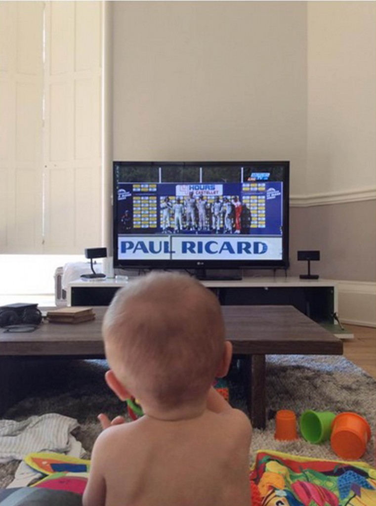 Callum was recently pictured watching his dad on TV