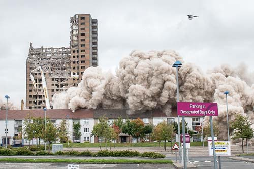The demolition of the tower blocks at Tarfside Oval in Cardonald, Glasgow, took place on Sunday morning. Three of the four blocks were brought down by controlled explosion, with one block remaining to be mechanically dismantled. IN PIC................. (c) Wullie Marr/DEADLINE NEWS For pic details, contact Wullie Marr........... 07989359845