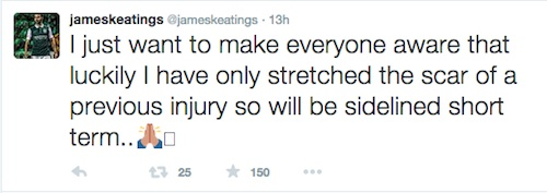 JAMES KEATING INJURY