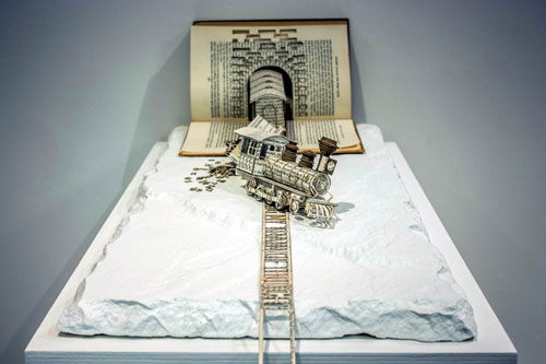 The stunning sculptures are made entirely from books