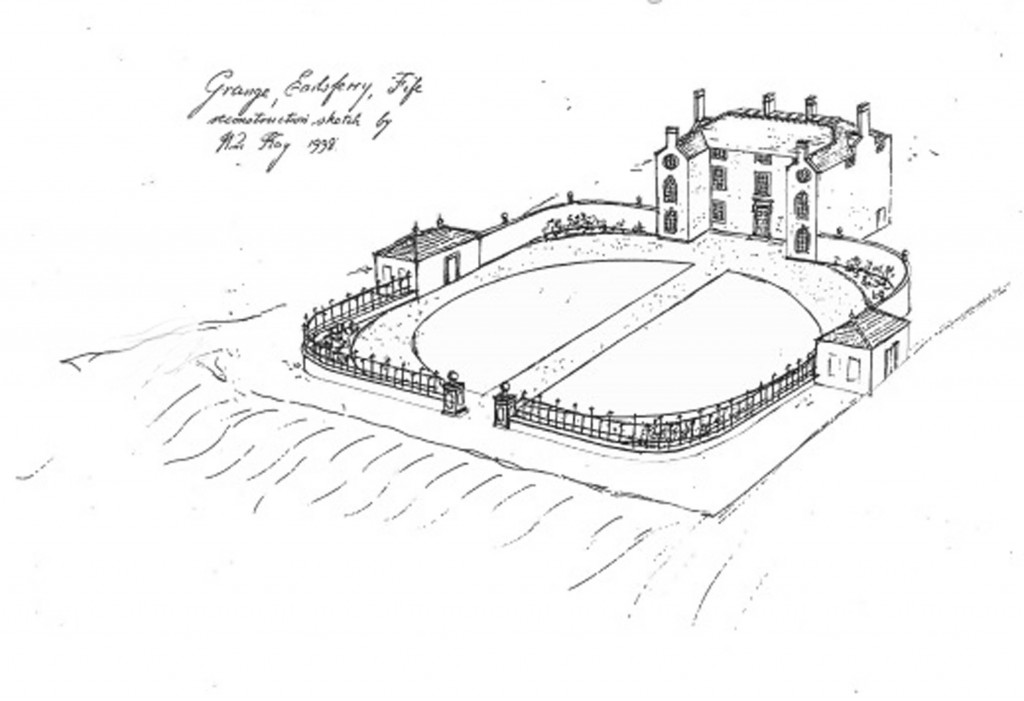 1998 sketch showing what the house would have looked like in its 18th Century heyday