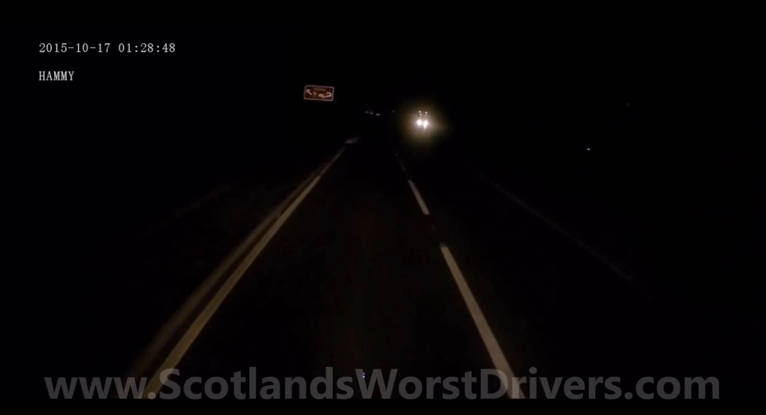 Images and video must be credited Scotland's Worst Drivers/Deadline News HAIR-raising footage shows the moment a trucker swerved to avoid smashing into the carcass of a cow on a busy dual carriageway. Night-time dashcam footage shows the truck driving on the A9 in Perth and Kinross when the hazard lights of a vehicle ahead become visible. The dead cow suddenly appears in the slow lane forcing the driver to swerve into the fast lane to avoid disaster. The animal had been hit moments before by an HGV which was forced to stop with half its bumper missing. The incident took place in the early hours of Saturday morning as driver James Hammond was approaching Auchterarder. The footage was uploaded online by website, Scotland?s Worst Drivers.